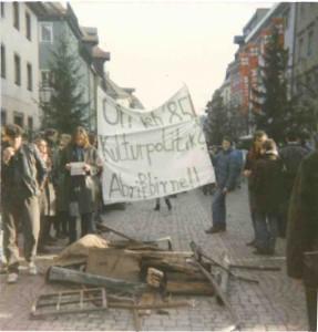 1985 Demo anläßlich des Abrisses der Landwatten