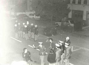 Polizeiiensatz vor der Spittelstraße,  1987